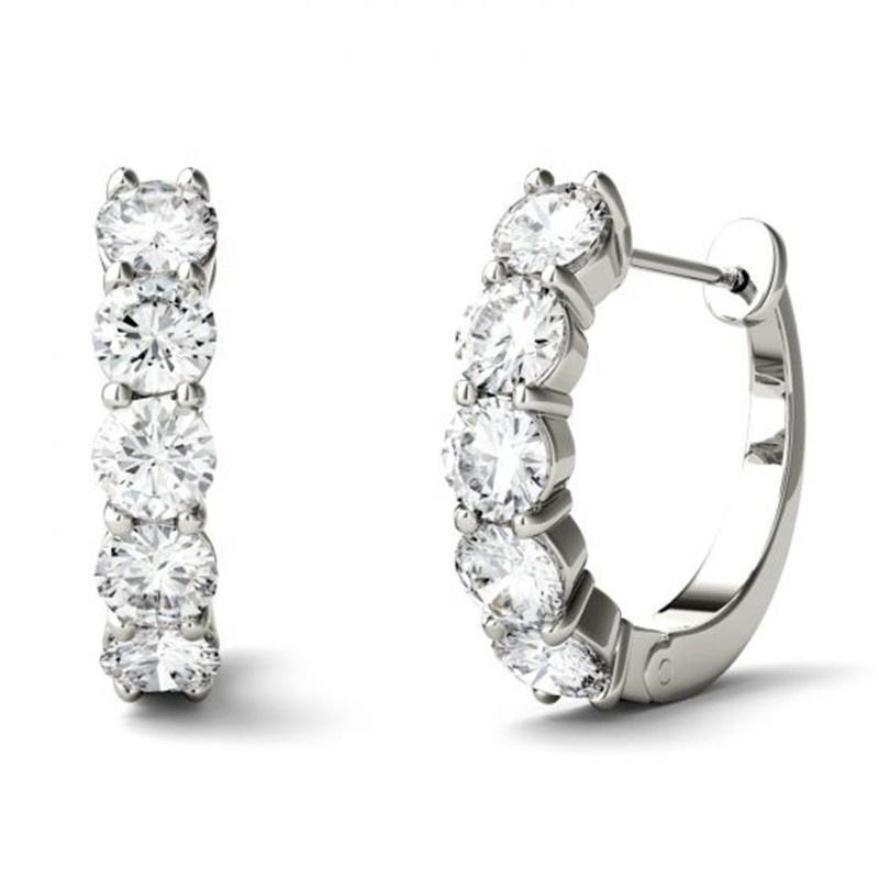 Women Fashion Daily Wear 925 Sterling Silver Prong Set Vvs Colorless White Moissanite Hoop Earring