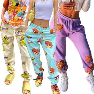 Custom Printed Pattern Fitness Sport Running Street Wear Trousers Active Gym Jogger Oversized Stacked Sweatpants Women