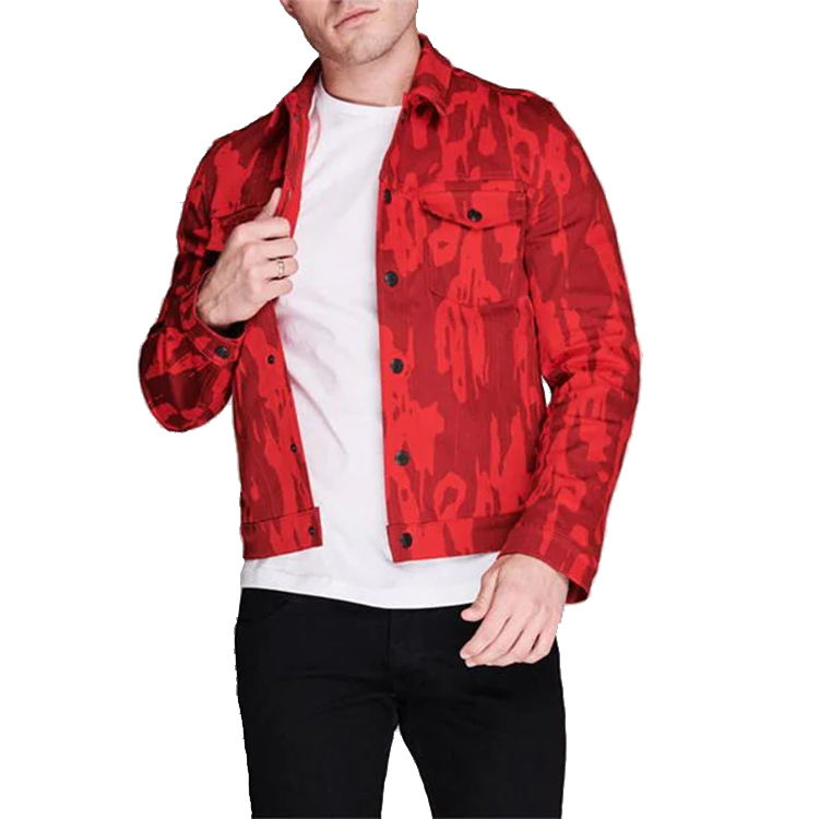 Wholesale custom long sleeves red washed all over printed denim jacket men