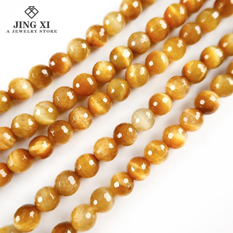 Wholesale natural gem gold tiger eye loose bead 6/8 mm for jewelry bracelet necklace production