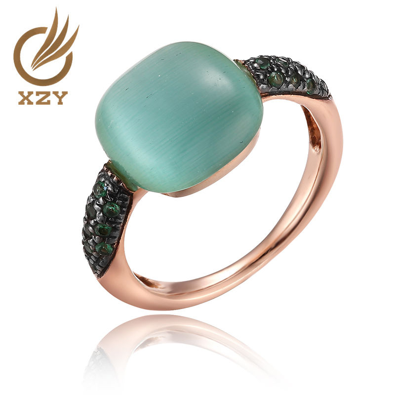 Logo Customization [ Ring Cat ] The Ring XZY 925 Silver Classical Finger Ring With Ruby And Green Cat Eye And Two-tone Plated