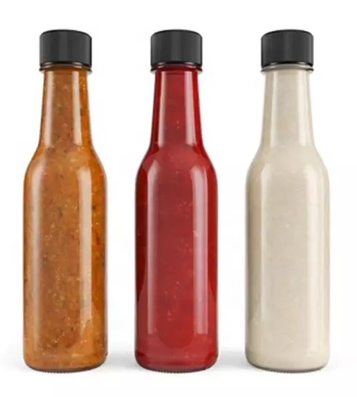 150ml 180ml 250ml Bulk chili sauce glass bottle, glass hot sauce bottle with plastic lid