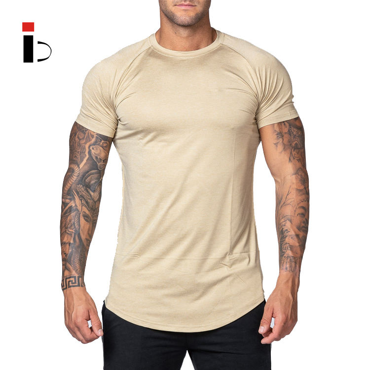 Custom Muscle Dry Fit 100% Cotton Raglan Sleeve Gym T Shirt