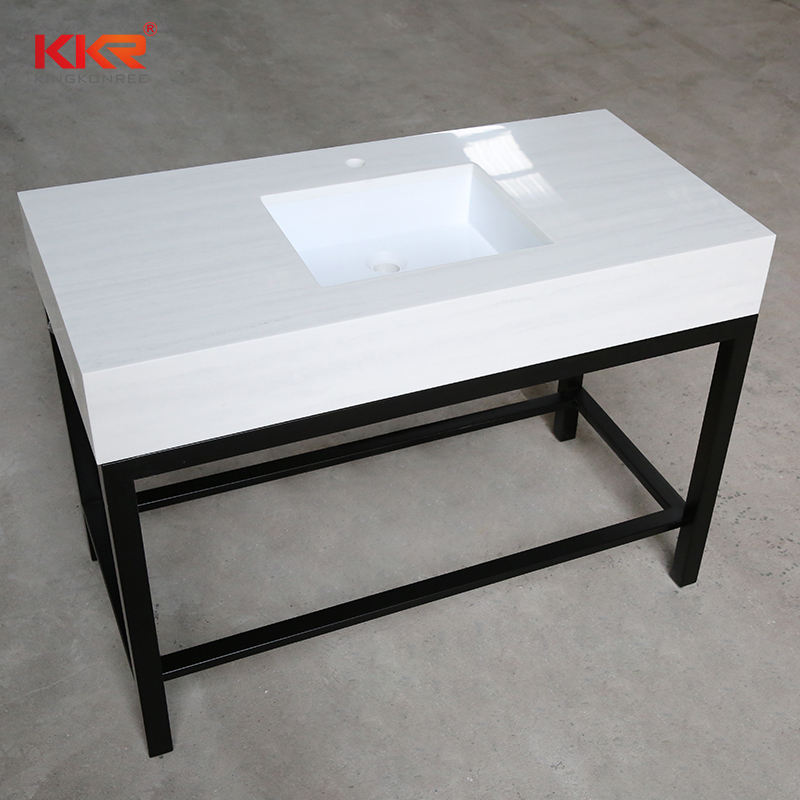 Marble looking solid surface vanity countertop with intergrated sink