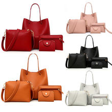 designer Large Capacity Lichee Print 4 Piece Suit Women Leather Handbags pu leather handbag sets