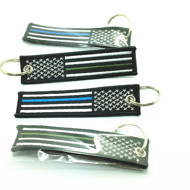 Thin blue line America flag embroidered keychain Red line key chain
