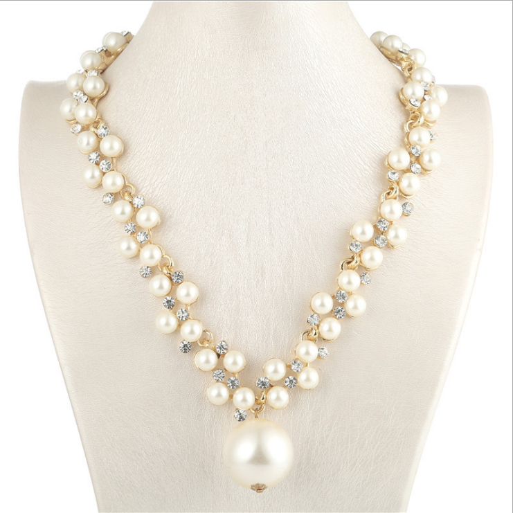 Strand Pearl Necklace White Pearls and Black Peal pendant White Gold Plated Silver or Rose Gold choker for Women