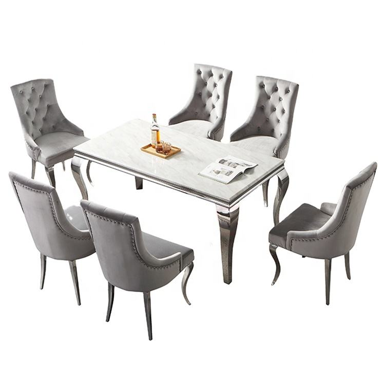 Dinning room furniture stainless steel dining tables set and 6 chairs for home