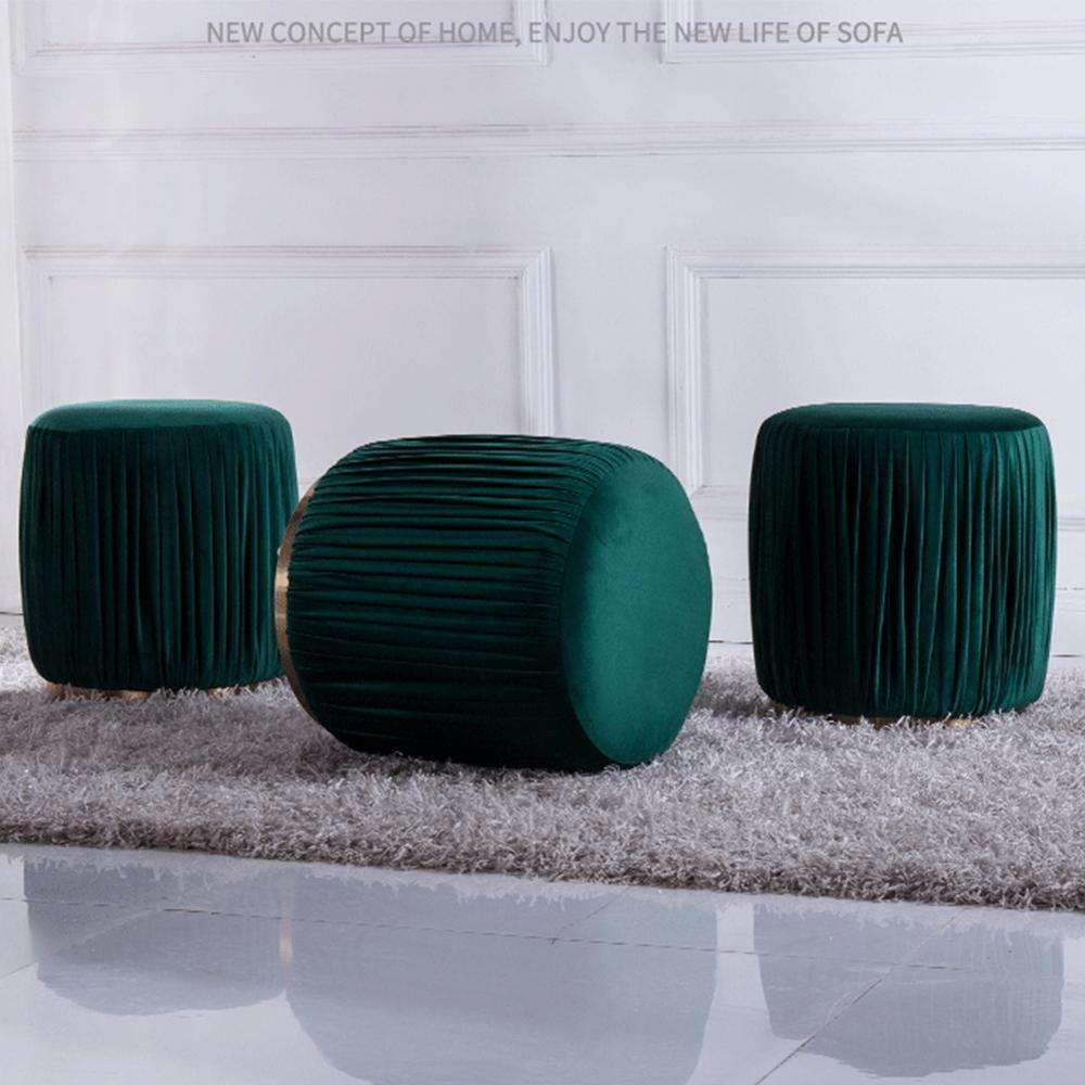 Home Decor Factory High Quality Modern Round Green Velvet Fabric Ottoman Stool For Living Room
