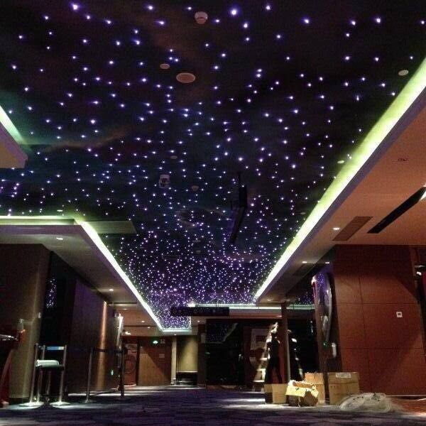 Hotel lobby interior fiber optic lighting starry star for cinema roof ceiling decoration