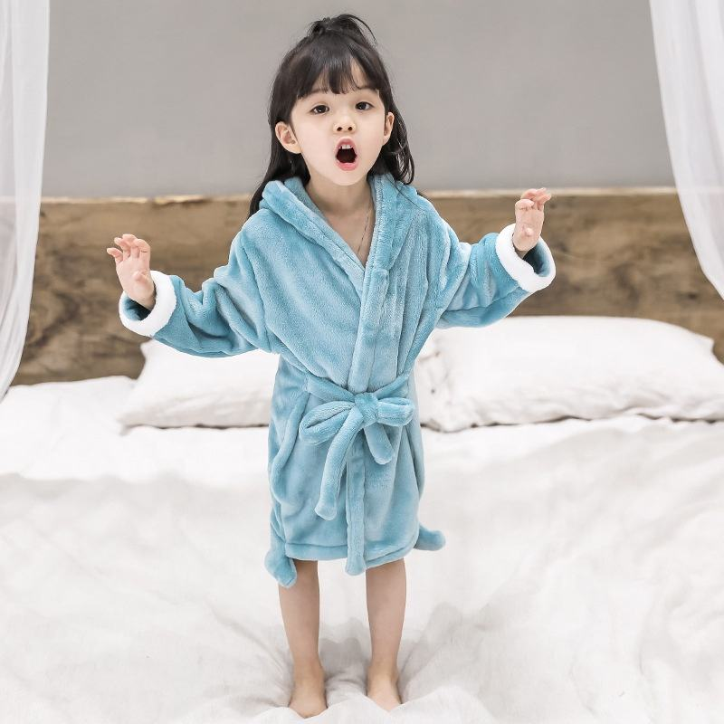 Home Textile China Polyester Fleece Kids Solid Soft Kids Robes For Kids