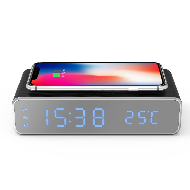 Best Selling Custom Logo 10Watt Wireless Charger with LED Digital Alarm Clock