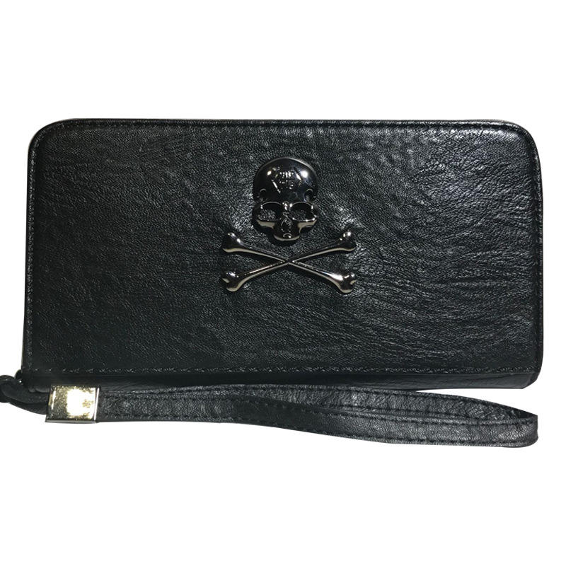 Wallet retro punk skull and crossbones clutch raindrop pattern color changing PU leather women wallet