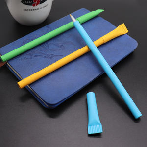 Eco friendly straw paper ballpen with colorful barrel logo customized