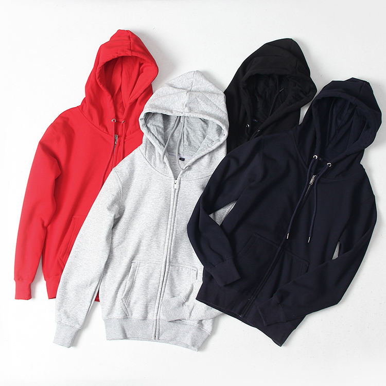 600GSM Fleece Sweatshirt OEM Bulk Men Plain Wholesale Hoodies Full Face Zip Hoodie