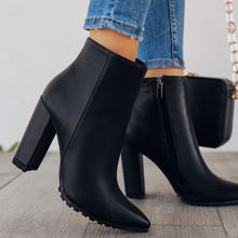 2020 new fashion female uncle lock boots block heel women winter boots women boot shoes