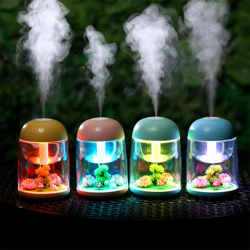 hot creative green plant Micro Landscape Mini USB Air Humidifier with Colorful LED Light Ultrasonic Diffuser Purifier