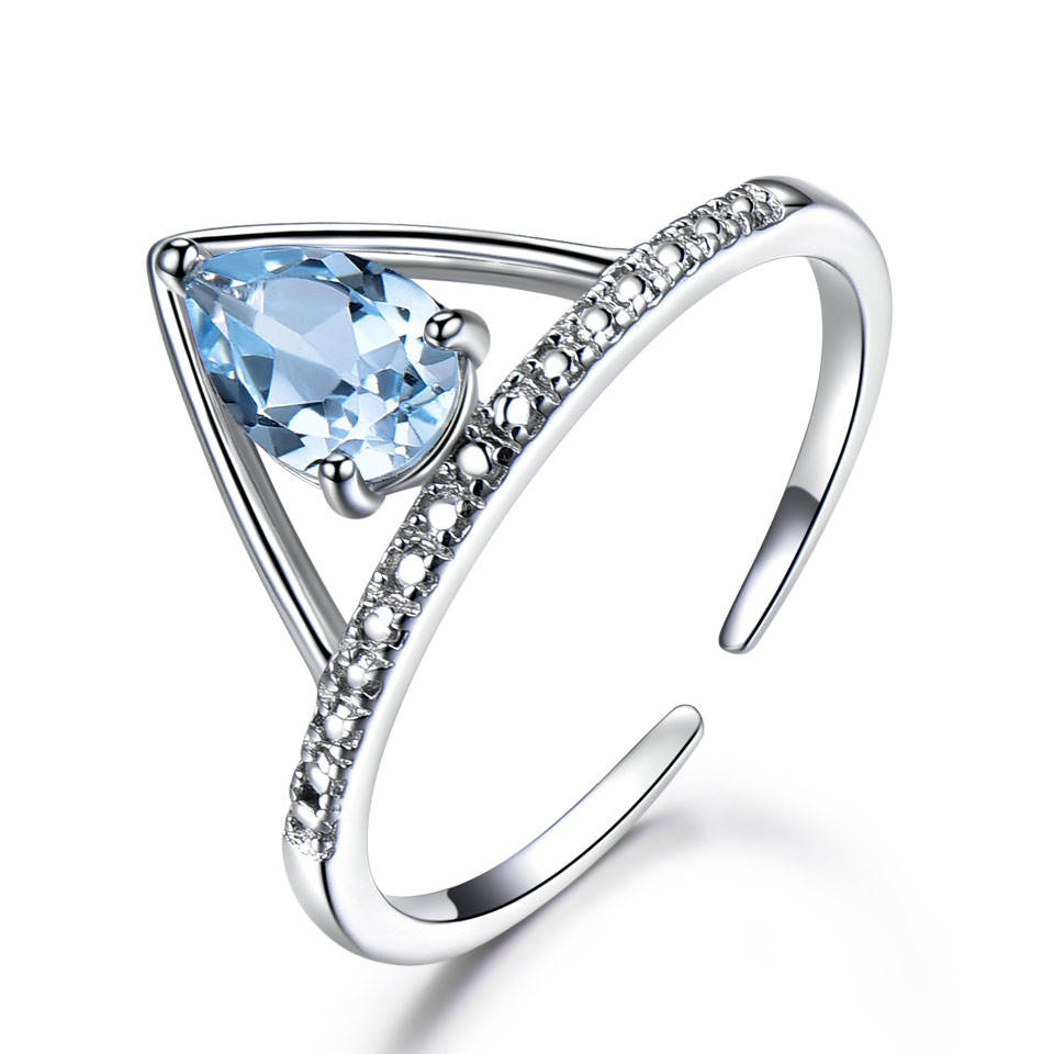 Luxe Blue Topaz White Gold Plating Engagement Ring 925 Sterling Zilveren Ring