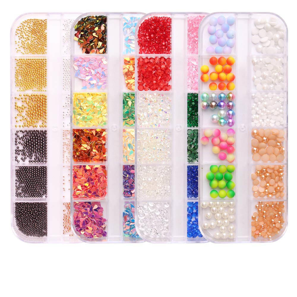 Nail Crystals And Rhinestones Rose Gold Metal Stud Nail Art Sharp And Flat Base Rhinestones Kit