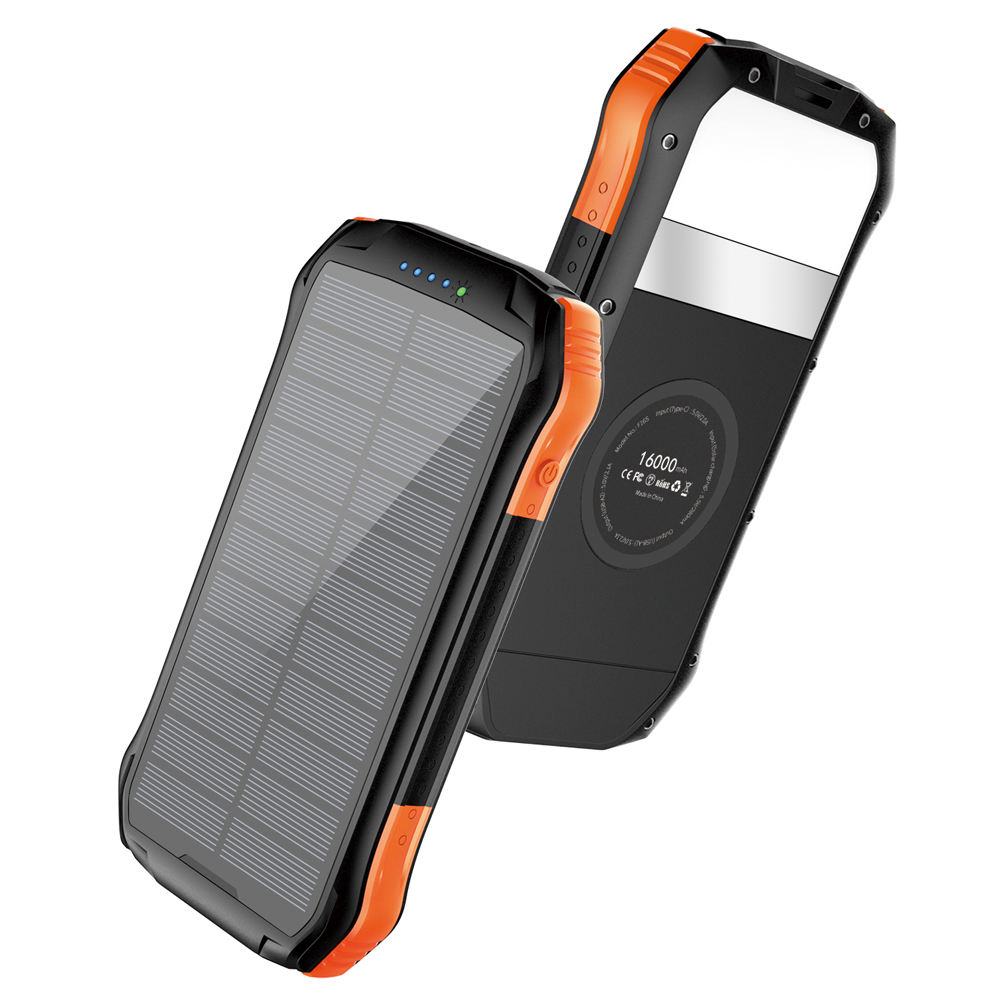 Solar Charger 16000mAh Portable Solar Power Bank External Backup Battery Dual Outputs & Type-C Input Waterproof solar powerbanks