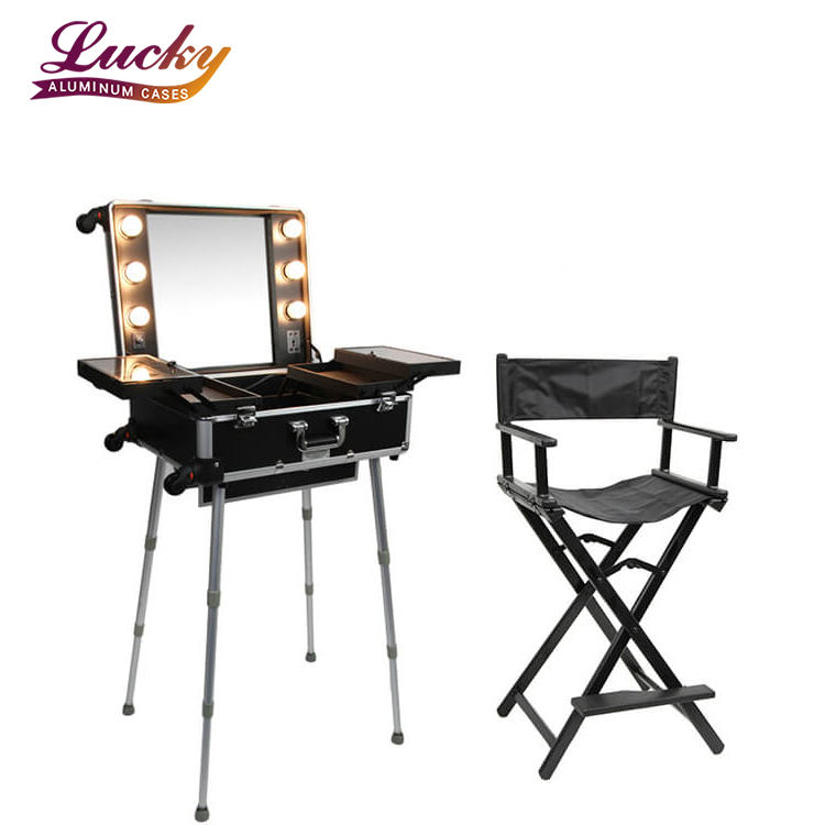 professional aluminum makeup station beauty vanity cosmetic case with light mirror