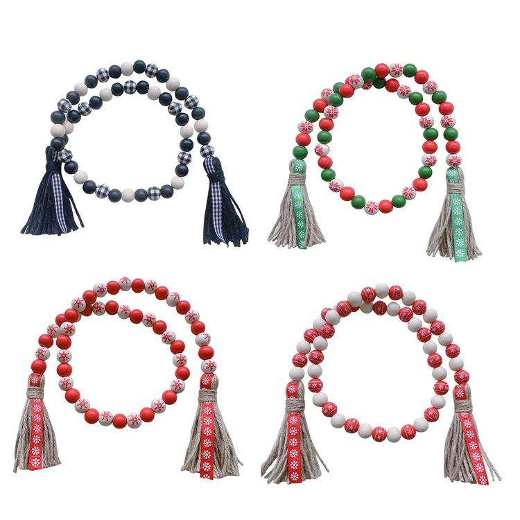 Wood Bead Garland with Tassels Hanging Prayer Beads for Farmhouse Colorful Wooden Prayer Beads with Tassels