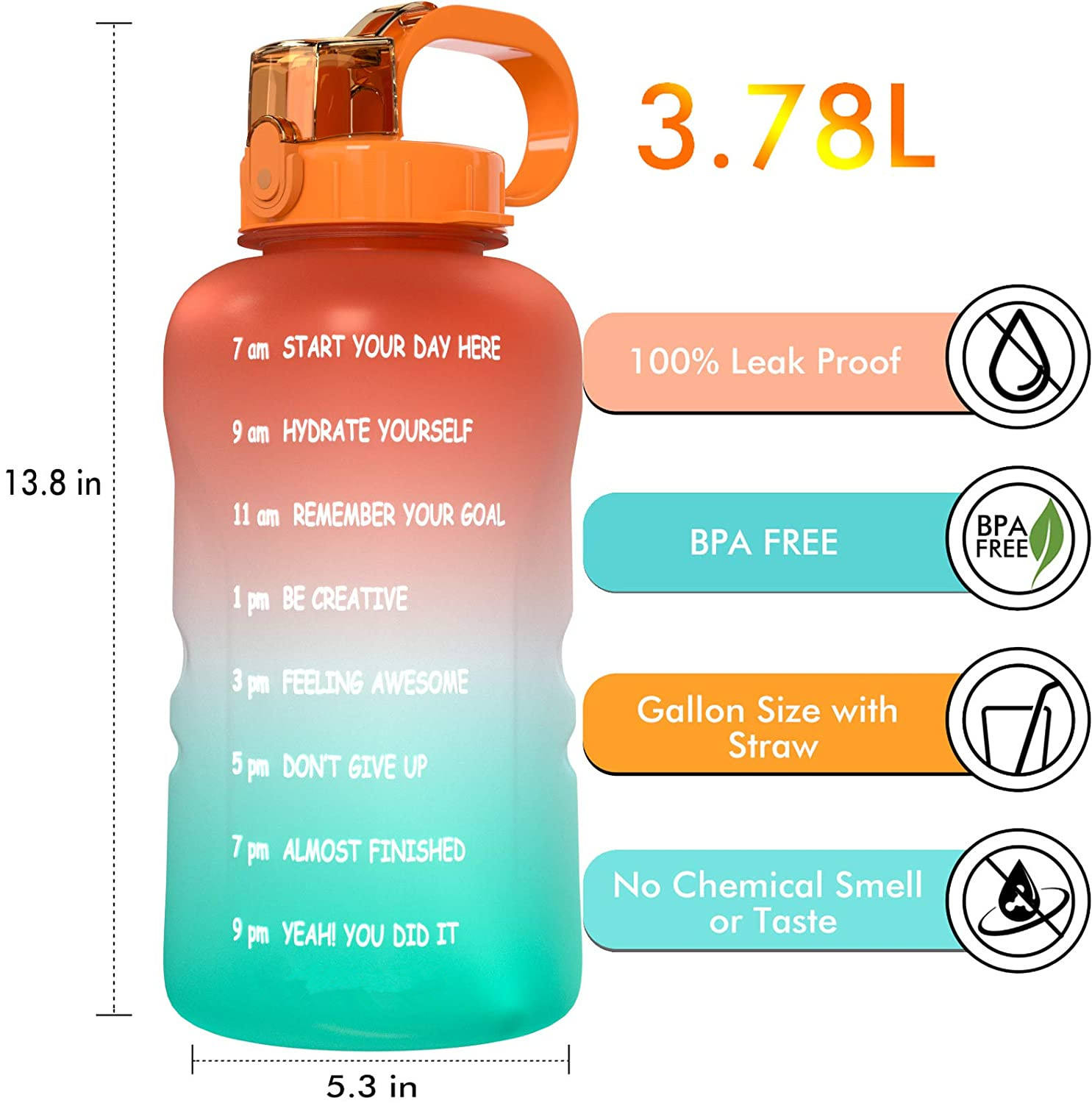 1 Gallon 128 oz Motivational Water Bottle with Straw Time Marker Large BPA Free Jug Handle Reusable Workout Gym Fitness Drink