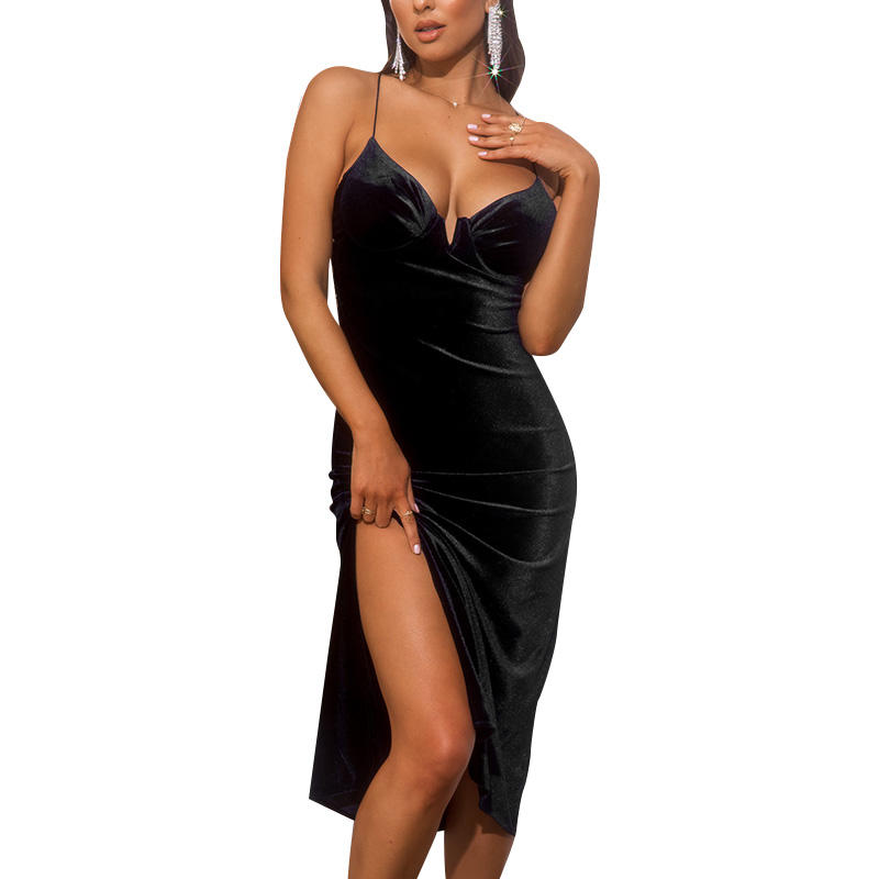 2021 New Arrival Summer V Neck Sling Party Sexy Korea Velvet Long Dress Women Black Dress