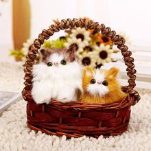 Lovely Simulation Plush Cat in Basket Lifelike animal toy  for  Home Decoration Ornaments Party Gift