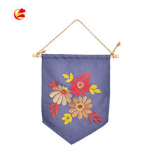 Custom Logo Sublimated Printing Plain Pin Display Cotton Canvas Hanging Wall Blank Banner Pennant Flag