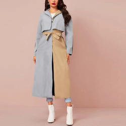2020 Fashion Two Tone Single Button Belted Trench Coat Casua