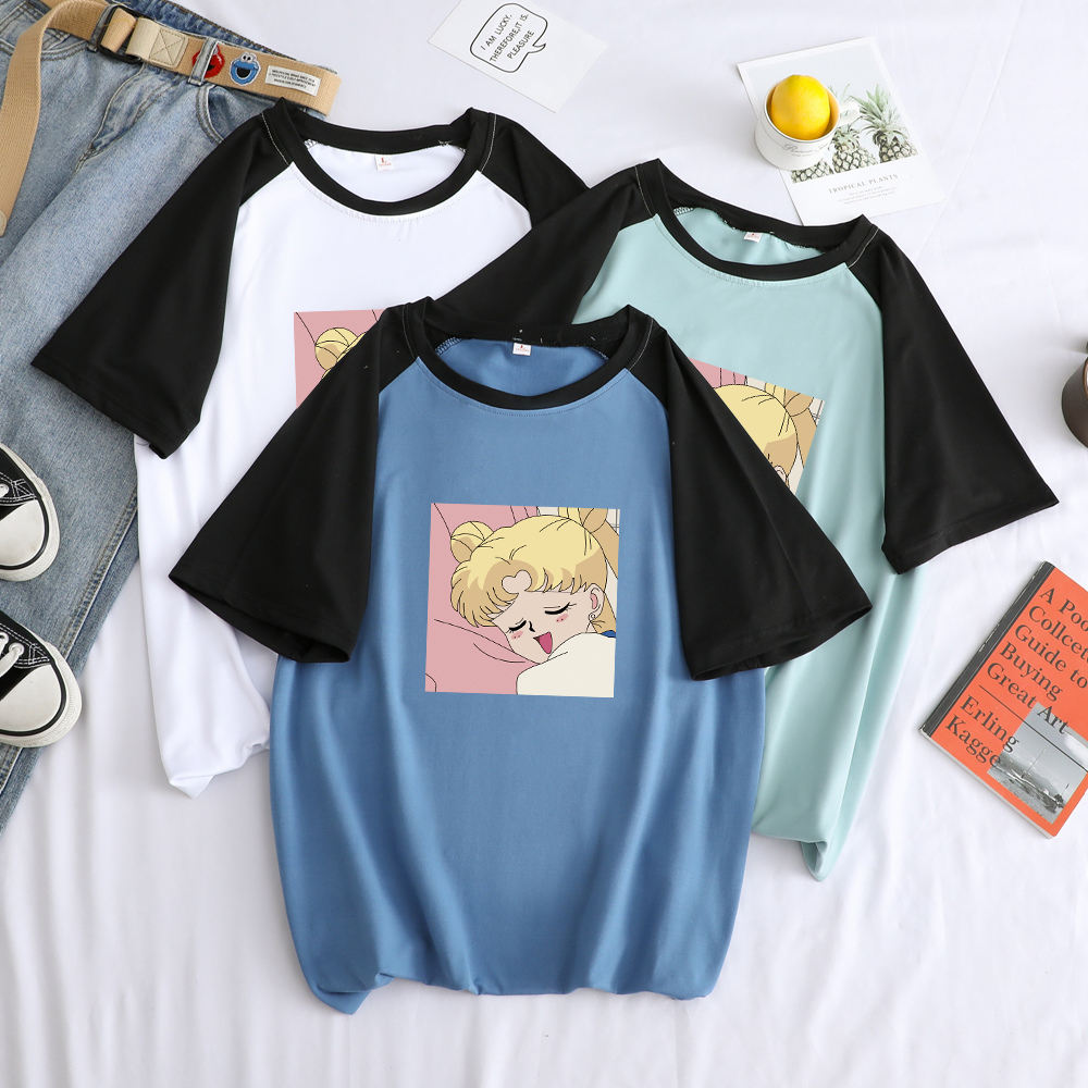 Loose T Shirt,Pastel Colored Insects Fashion Personality Customization