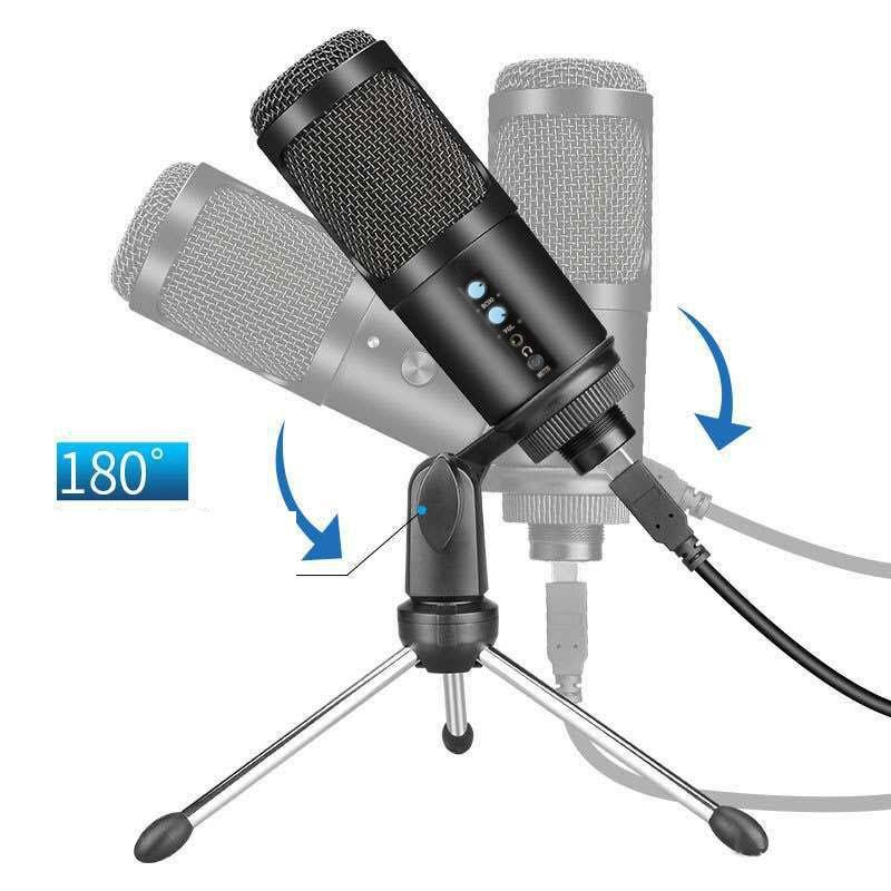 USB Studio condenser microphone with large diaphragm condenser microphone for broadcasting with tripods