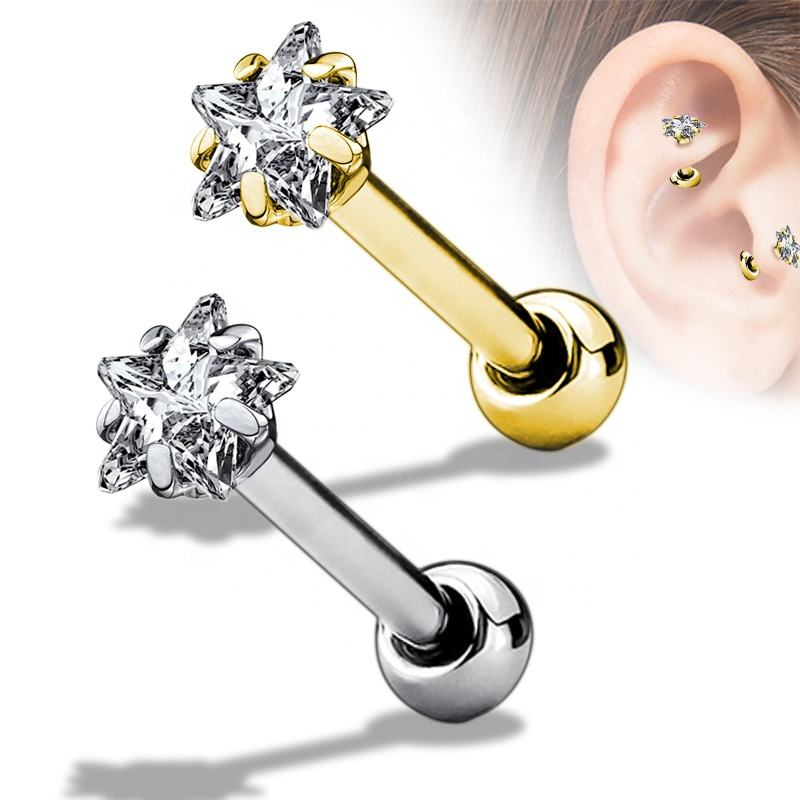 2020 The Latest Design Star CZ Prong Set Tragus/Cartilage Piercing Stud 316L Surgical Steel Hot Wholesale