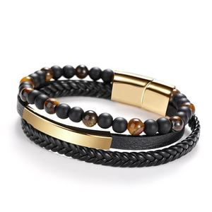 New Hot Natural Volcanic Stone Leather Bracelet black agate Beads Bracelet Multi-layer Wrap Magnetic Clasp Men Bracelet