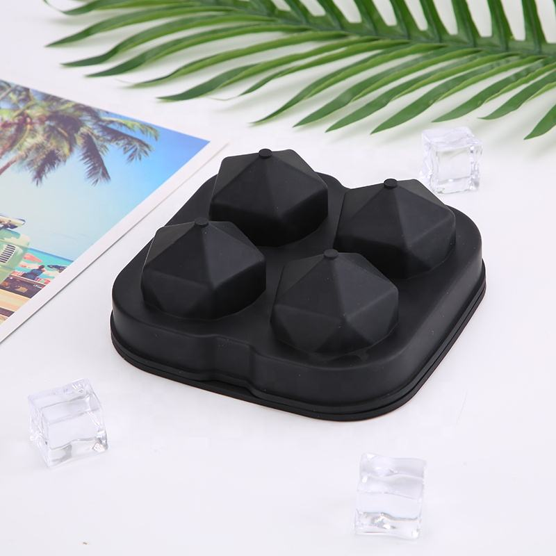4 cavities forms pops pack 45mm diamond whisky jumbo silicone ice tray ball mold