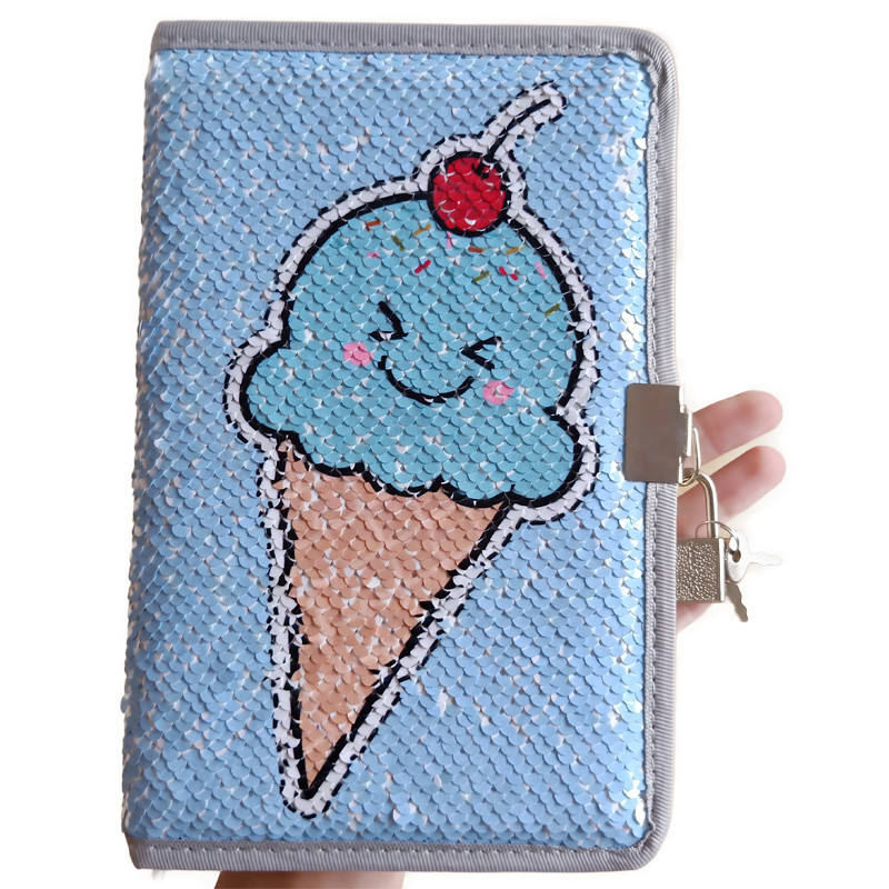 kid secret cute ice cream sequin notebook diary book with lock and key