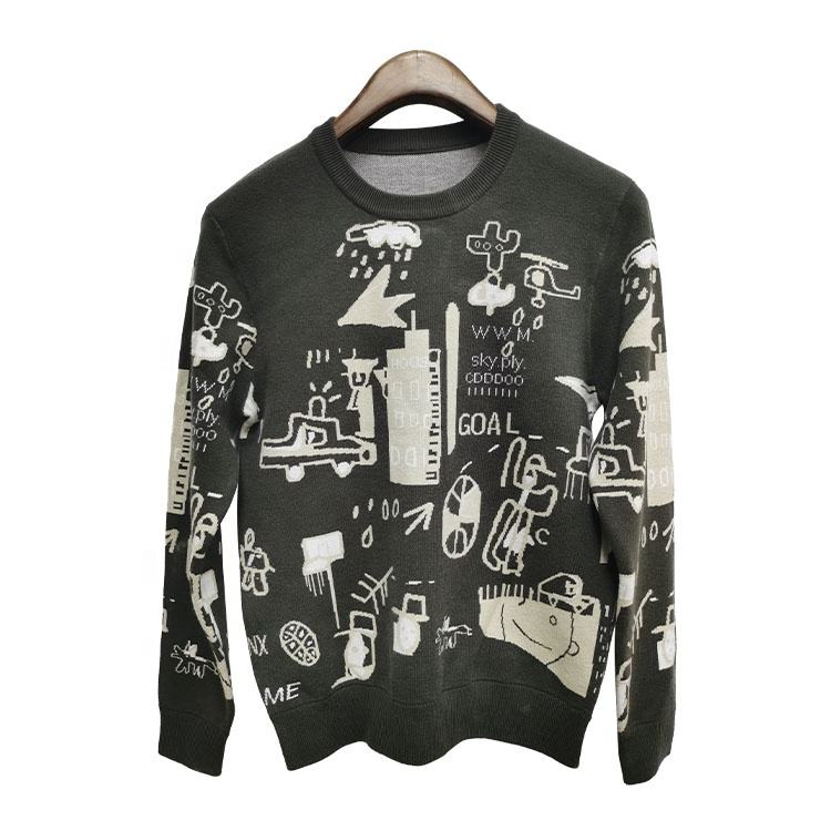 DiZNEW Winter High Quality Acrylic Jacquard Custom Knit Ugly Christmas Sweater men