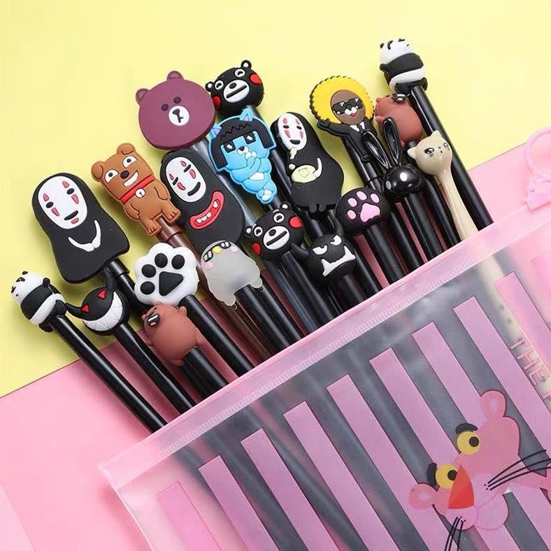20pc cute silicone cartoon character head plastic gel pen ball point pen in a bag for kids YQ0388