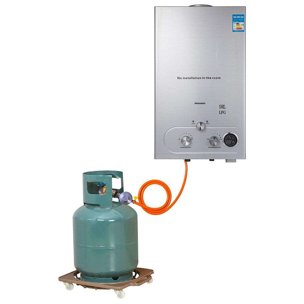18L Propana Pemanas Air Panas 36KW Tankless Instan Boiler Stainless Pemanas Air Gas dengan Shower Kepala Kit