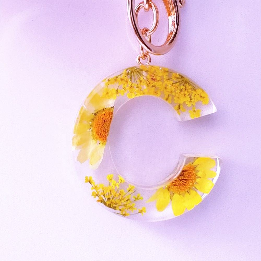 yellow sunflower orange blue colorful flower resin keychain, initial letter number 0-9 keyring holder pendant necklace earring
