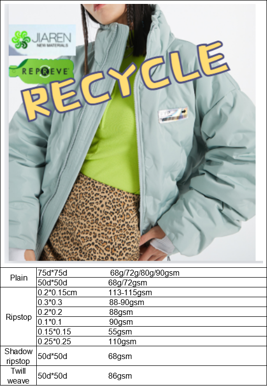 100%recycled Polyester Pongee For Down Jactket Coat