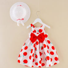 Boutique Kids Toddler Clothes Fruit printing Sleeveless frock baby Girls Casual birthday party Ocean Beach wear Straw hat dress