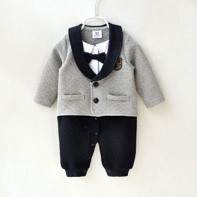fall and winter boy clothes cotton gentleman style long sleeve newborn rompers newborn baby boy clothes