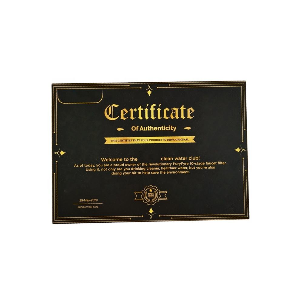 2020 high quality custom printing certificate business card printing paper with hot stamping gold cards customized