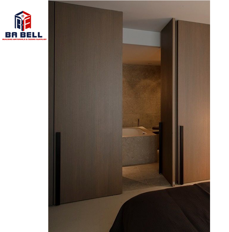 Invisible flush mounted high-end secret room wooden doors internal concealed integrated frameless hinged hidden door