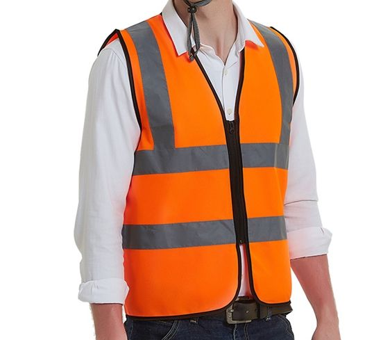 High Visibility cheap polyester blue or yellow zip Safety Reflective Traffic Vest