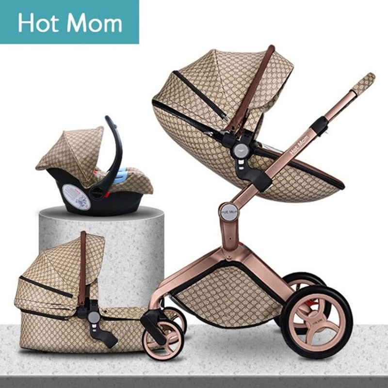 2020 original Hot Mom 3 in 1 Baby stroller newborn High Landscape fashion carriage folding shock baby pram travel system