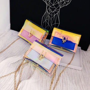 2020 Mini Luxury Glitter Crossbody Rainbow Holographic Girls Chain Purse Clear Transparent Pvc Women Jelly Purse