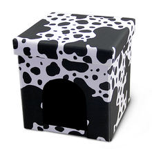 HStex luxury folding ottoman box storage chair animal black PVC leather fold pet bed stool
